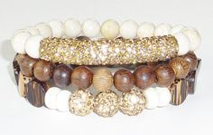 Beaded Bracelet Set with Semiprecious Gemstones, Wood Beads and Gold Shamballa Bar and Beads