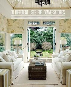 10 Different Uses for a Conservatory (I'd like this as a living room) Grow herbs for cooking in a mini garden, a dining room, a sunroom, an office space.etc room conservatory 10 Different Uses for Conservatories Conservatory Flooring, Conservatory Interiors, Conservatory Design, Conservatory Furniture, Conservatory Ideas Cosy, Conservatory Dining Room, Deco Champetre, Design Furniture, Furniture Ideas