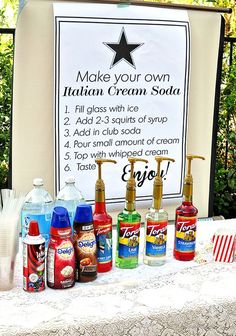 We are loving how simple & easy it is to put together a Sweet Italian Soda Bar for any party. all you need is bubbly water (mineral water, soda water, etc), Torani flavor + cream! viola.