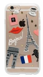 Clear case with paris motif and gold foil accents. This case has a rubber bumper and a hard outer shell. This option provides protection without too much bulk. For iPhone Paris Case by Rifle Paper Co.