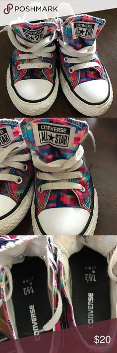 Kids converse shoes 1 day FLASH SELL! $16 Good condition! Pixal design Converse Shoes Sneakers