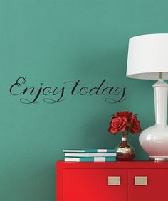 'Enjoy Today' Wall Decal and simple cute decor! Wall Racks, Interior Exterior, All Modern, Wall Decals, Wall Art, Diy Wall, My Dream Home, Color Inspiration, Decorative Pillows