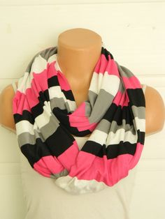 Striped Infinity Scarf textile pinkblackgrey by WomensScarvesTrend, $23.00