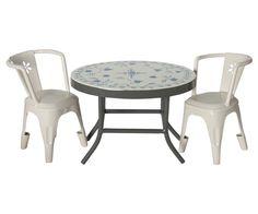 3 pcs. Café set, metal, cream/grey Maileg