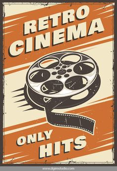 Cinema vintage poster vector image on VectorStock