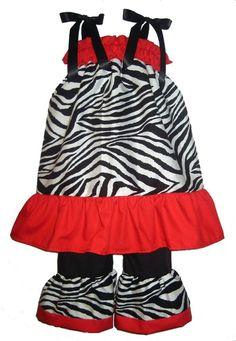 Pillowcase Dress & Pants Set Zebra Red by littlemimisboutique - StyleSays