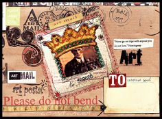 Hemingway Envelope...Mixed media collage cut and paste 9X6 MAIL ART envelope by Constance Taylor.