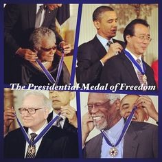 Maya Angelou, Yo-Yo Ma, Warren Buffet, Bill Russel, and others were presented with the Presidential Medal of Freedom.