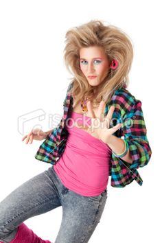 1980s Hairstyles and Makeup | ... young blond woman with 80s hairstyle and makeup - Stock Photo - iStock