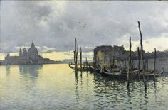 Evening, Looking Towards the Grand Canal with Santa Maria dells Salute in the Distance. Emilio Sanchez-Perrier - 1885.