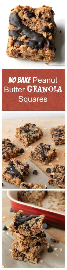 No Bake Peanut Butter Granola Squares - perfect for breakfast, a snack, dessert, or in a lunchbox. Oil free, gluten free (make sure to use gluten free oats!), dairy free, and super healthy! Quick and easy to make.