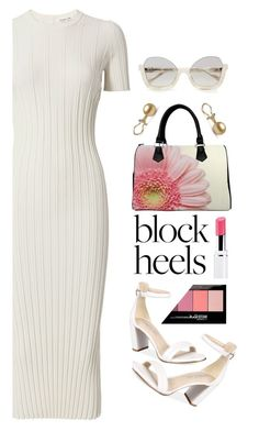 """blockheels"" by katymill ❤ liked on Polyvore featuring Kenneth Cole, Helmut Lang, Maybelline and blockheels"