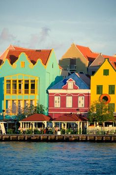 Dutch colonial architecture and crystal blue waters in Curacao