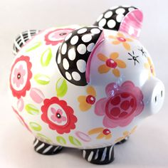 Ceramic Piggy Bank. Hand Painted. Original design. Black, Hot Pink floral with yellow polka dots. Custom orders welcomed. Include changes in the comments section or 'contact us' with a special request