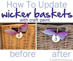 Update baskets to a driftwood finish using this easy paint technique using craft paints. {InMyOwnStyle.com}   #beforeandafter