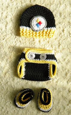 Handmade - Pittsburgh Steelers Football Baby Crochet hat fcae595b3