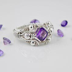 Gemstone Wire Wrapped Amethyst Ring Silver Handmade Fair Trade USA Bazaars R Us