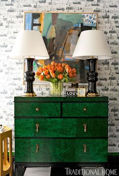 Dressing Room by Lisa Mende & Traci Zeller Against one wall of the graphically appointed dressing room, a faux malachite chest adds storage … John Besslar photography Interior Design Resources, Green Decor, Decor, Interior Design, Decor Inspiration, Furniture, Interior, Painted Furniture, Home Decor
