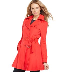 Kenneth Cole Coat, Belted Pleated Trench - Coats - Women - Macys