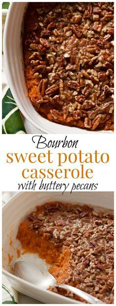 Sweet potato casserole with bourbon and a buttery pecan crust - lightened up…