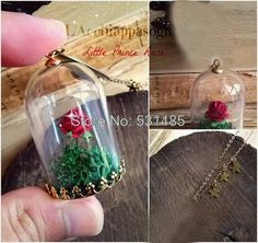 The Little Prince Rose INSPIRED Necklace - Rose in a Jar - Glass Dome - gold plated brass chain - Le Petit Prince - fox charm - planet Little Prince Fox, Diy Jewelry, Unique Jewelry, Rose Necklace, Glass Domes, Brass Chain, Beauty And The Beast, Crafts To Make, Decoration