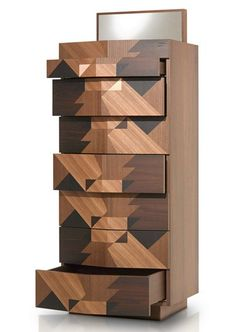 Free standing wooden chest of drawers MAGGIO by Porro | #design Alessandro Mendini #wood