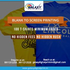 Our different print techniques assure you the #BestService with no minimums, no #SetupFee. Place your bulk order now at best price from #GalaxyDigitalPrint.  Reach us at: galaxydigitalprintmr@gmail.com
