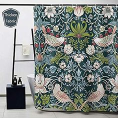 Obal William Morris Shower Curtain, Strawberry Thief Bath Curtains Water Repellent Anti-Mould Polyester Decorative Shower Curtains Art Deco With 12 Curtain Hooks Machine Washable, 71 in * 71 in Shower Curtain Art, Shower Curtains, Toilet Cleaning, Deep Cleaning, Shower Pole, Bathroom Towel Rails, Toilet Brushes And Holders, Pencil Writing, William Morris
