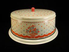 Vintage Red , Cream, & Silver Flower Basket Cake Plate & Cover