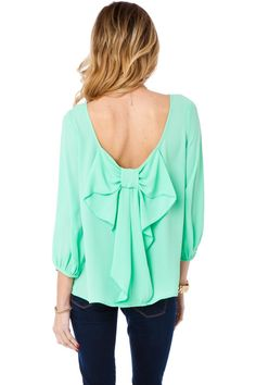 ShopSosie Style : Coletta Bow Blouse in Mint