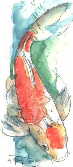Fantasie Karpfen, Bleistift und Aquarell Koi Fisch Kunst - Carpa fantasía, lápiz y acuarela Koi fish art Fantasie Karpfen, Bleistift und Aquarell Koi Fisch Kunst Koi Fish Drawing, Fish Drawings, Art Drawings, Watercolor Fish, Watercolor Illustration, Watercolor Paintings, Mermaid Paintings, Tattoo Watercolor, Koi Art