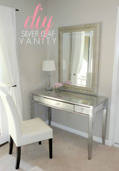 $15 thrift store vanity desk makeover using silver leaf and spray paint! Check out the before!