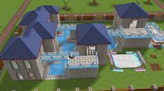 Blue Mansion house design #sims #freeplay
