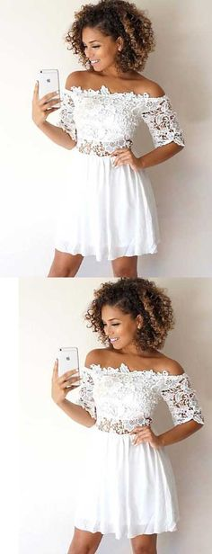 off the shoulder homecoming dresses,short white homecoming dresses, short lace homecoming dresses with sleeves,hoco dresses 2017