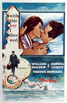 The Key //    Directed byCarol Reed  Produced byCarl Foreman  Written byJan de Hartog (novel)  Carl Foreman  StarringWilliam Holden  Sophia Loren  Trevor Howard  Music byMalcolm Arnold  CinematographyOswald Morris  Editing byBert Bates  Distributed byColumbia Pictures  Release date(s)1 July 1958