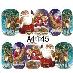 1 Blätter Wassertransfer Weihnachten Decals Nagelkunstaufkleber Wasserzeichen Tattoo Voll Tipps Weihnachten Deer Santa Werkzeuge A1145