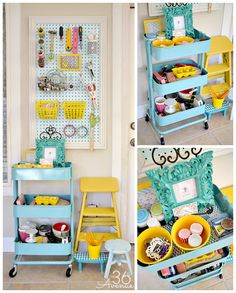 I like the pegboard FRAMED to look pretty. Top Ten Craft Room Makeovers {Organization & Inspiration} | Vintage News Junkie