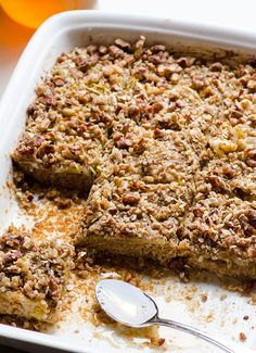 Honey Apple Oat Bars -- Soft bars with a pecan topping and only 1tbsp of sugar coming from raw honey and apples.