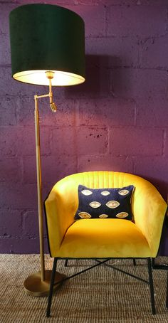 Lamp Shade, Lamp, Bronze Floor Lamp, Seating Area, Chair, Bronze, Led Lights, Neutral Comforter, Mustard Chair