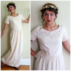 Vintage 1960s Maxi Dress in Embroidered Cotton / by BasyaBerkman