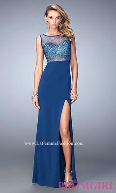 La Femme Sleeveless Open Back Dress with Illusion Beaded Top LF-21583
