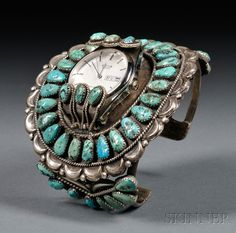 Zuni Turquoise and Silver Watch Band. Shades Of Turquoise, Coral Turquoise, Silver Earrings, Silver Jewelry, Fine Jewelry, Jewellery, Southwest Jewelry, Vintage Turquoise, Native American Jewelry