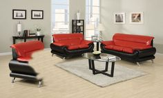 Acme Oral Red Leather Sofa 50710