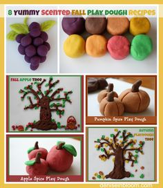 8 yummy scented fall play dough cup warm water 1 cup flour cup salt 2 Tbsp cream of tartar 2 tsp of pumpkin pie spice 1 tsp cinnamon 1 tbsp oil 12 Drops of yellow food coloring with 8 red to make orange color. Craft Activities For Kids, Toddler Activities, Projects For Kids, Craft Ideas, Play Ideas, Motor Activities, Sensory Activities, Educational Activities, Crafts To Do