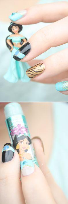 "Disney Nail Art Inspired by Princess Jasmine From ""Aladdin"""