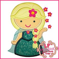 Sunflower Queen Cutie Applique 4x4 5x7 6x10 7x11 SVG - Frozen Fever Elsa - Lynnie Pinnie