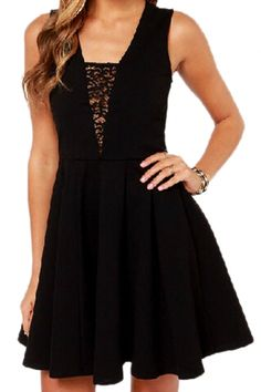 abaday Lace Hollow Little Black Dress