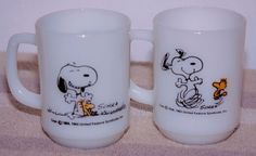 """Vintage Fire King Set of """"Peanuts"""" White Mugs w/ Snoopy & Woodstock Collectible"""