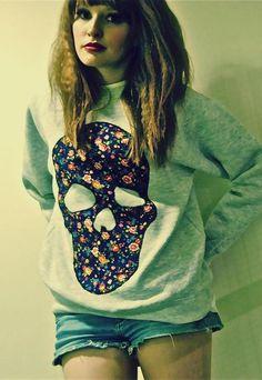 #DIY floral skull applique on sweatshirt