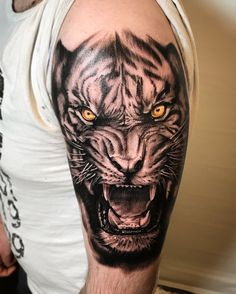 5 Most Popular Tiger Tattoos - Tattoo Designs Mens Tiger Tattoo, Tiger Tattoo Sleeve, Lion Tattoo Sleeves, Tiger Tattoo Design, Sleeve Tattoos, Tattoo Designs, Forarm Tattoos, Wolf Tattoos, Animal Tattoos